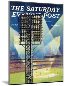 """Baseball Stadium at Night,"" Saturday Evening Post Cover, June 28, 1941 by Roy Hilton"