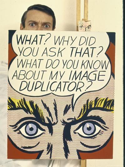 """Roy Lichtenstein Holding His Painting """"Image Duplicator""""-John Loengard-Premium Photographic Print"""