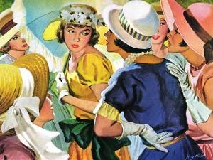 """Queen of the Ball  - Saturday Evening Post """"Leading Ladies"""", August 19, 1950 pg.31 by Roy Prince"""