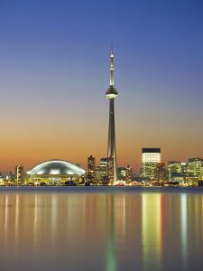 City Skyline Including Cn Tower in the Evening, Toronto, Ontario, Canada by Roy Rainford