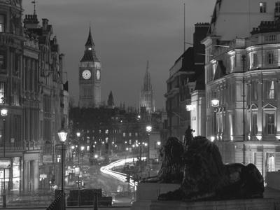 Evening View from Trafalgar Square Down Whitehall with Big Ben in the Background, London, England