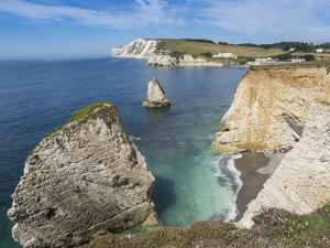 Freshwater Bay and Chalk Cliffs of Tennyson Down, Isle of Wight, England, United Kingdom, Europe by Roy Rainford