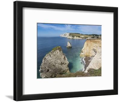 Freshwater Bay and Chalk Cliffs of Tennyson Down, Isle of Wight, England, United Kingdom, Europe