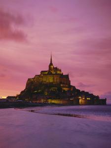 Mont Saint-Michel (Mont St. Michel) at Sunset, La Manche Region, Normandy, France, Europe by Roy Rainford