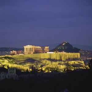 Parthenon and the Acropolis at Night, UNESCO World Heritage Site, Athens, Greece, Europe by Roy Rainford