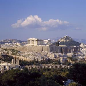 Skyline Of The Acropolis With Lykabettos Hill In Background Athens Greece