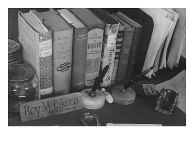 Roy Takeno's Desk, Manzanar Relocation Center-Ansel Adams-Art Print