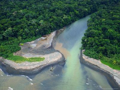 Aerial View of the Mouth of Rio Claro River Emptying into the Ocean, Sirena, Costa Rica