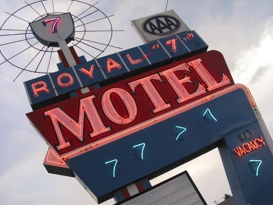 Royal 7 Motel Sign, Bozeman, Montana, USA-Nancy & Steve Ross-Photographic Print