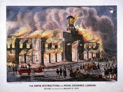 Royal Exchange (2N) Fire, London, 1838-W Clerk-Giclee Print