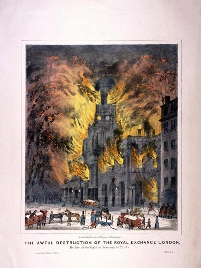 Royal Exchange (2N) Fire, London, 1838--Giclee Print