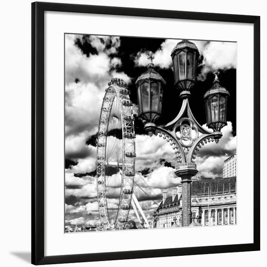 Royal Lamppost UK and London Eye - Millennium Wheel and River Thames - City of London - UK-Philippe Hugonnard-Framed Photographic Print