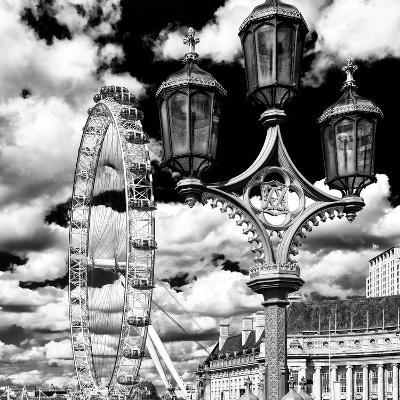 Royal Lamppost UK and London Eye - Millennium Wheel and River Thames - City of London - UK-Philippe Hugonnard-Photographic Print