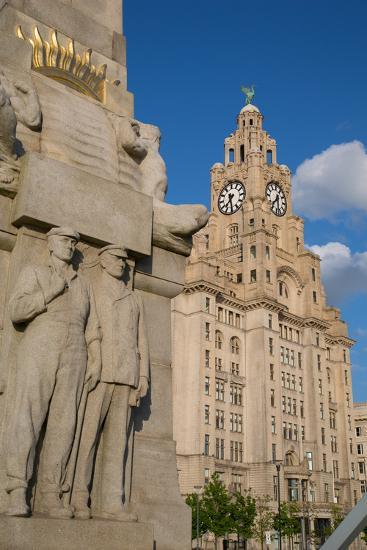 Royal Liver Building, Pier Head, UNESCO World Heritage Site, Liverpool, Merseyside-Frank Fell-Photographic Print