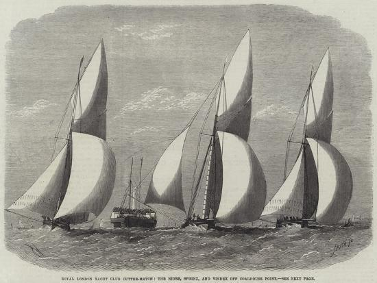 Royal London Yacht Club Cutter-Match, the Niobe, Sphinx, and Vindex Off Coalhouse Point-Edwin Weedon-Giclee Print