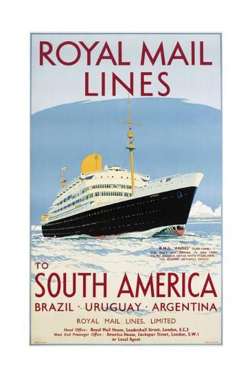 Royal Mail Lines to South America Poster-Jarvis-Giclee Print
