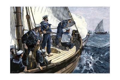Royal Navy Chasing An East African Slave-Ship, Circa 1880--Photographic Print