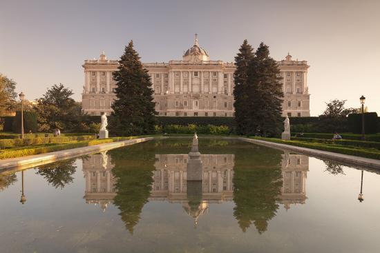 Royal Palace ( Palacio Real), view from Sabatini Gardens (Jardines de Sabatini), Madrid, Spain, Eur-Markus Lange-Photographic Print
