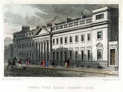 Royal York Baths, Regents Park, London, 1828-WR Smith-Giclee Print