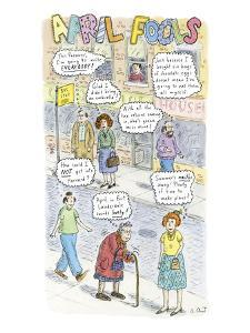 2-COLUMN COLOR: City sidewalk showing seven people with thought bubbles; e? - New Yorker Cartoon by Roz Chast