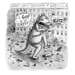 A godzilla is seen tiptoeing through a city, crushing people along the way. - New Yorker Cartoon by Roz Chast