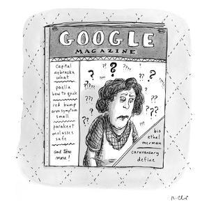 "A magazine titled ""Google Magazine"" has the following headlines: Capital N? - New Yorker Cartoon by Roz Chast"