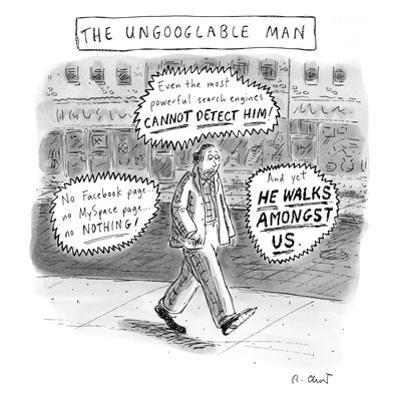 A man is seen walking down the sidewalk with word bubbles around him decla… - New Yorker Cartoon by Roz Chast