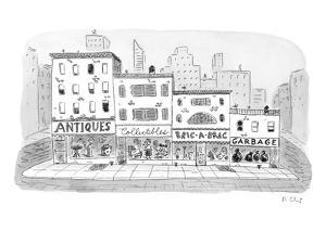 A series of stores on a street have descending levels of used goods:  'Ant? - New Yorker Cartoon by Roz Chast