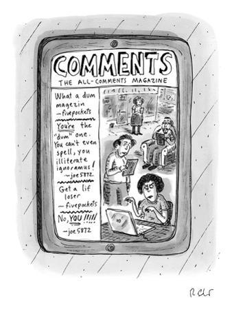 """A tablet displays """"The All-Comments Magazine"""" - New Yorker Cartoon by Roz Chast"""