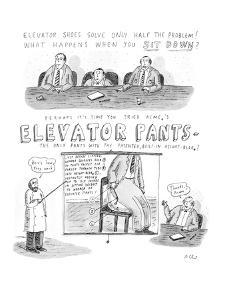 """Advertisement for pants with air-bag in seat of pants that makes the weare?"""" - New Yorker Cartoon by Roz Chast"""