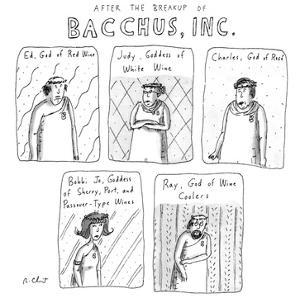 AFTER THE BREAKUP OF BACCHUS, INC. - New Yorker Cartoon by Roz Chast