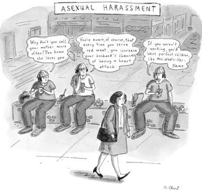 Asexual Harassment - New Yorker Cartoon by Roz Chast