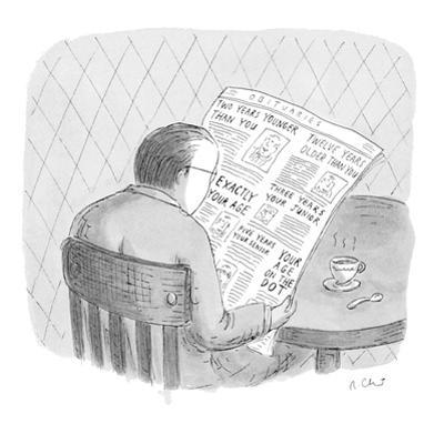 Man reads the obituaries in newspaper; headlines for each death refer, rel… - New Yorker Cartoon by Roz Chast