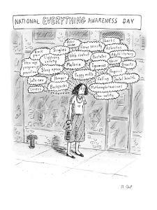 Person thinking about everything. - New Yorker Cartoon by Roz Chast