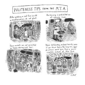 Politeness Tips From the M.T.A.' - New Yorker Cartoon by Roz Chast