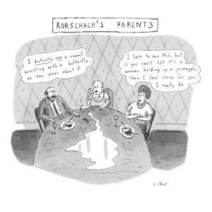 Rorschach's Parents Dad: 'I distinctly see a camel wrestling with a butter… - New Yorker Cartoon by Roz Chast
