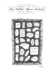Schematic Map Of Miss Mathilda's Afternoon Assortment Box Of BonBons - New Yorker Cartoon by Roz Chast