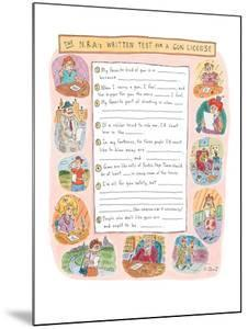 'The N.R.A's Written Test for A Gun License.' - New Yorker Cartoon by Roz Chast
