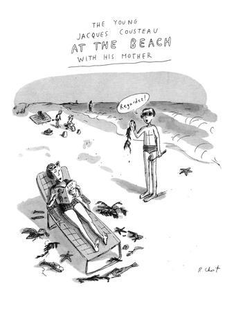 The Young Jacques Cousteau at the Beach with his Mother. - New Yorker Cartoon