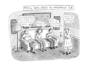 Trial Balloons in Apartment 3-B - New Yorker Cartoon by Roz Chast