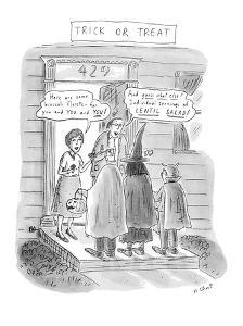 Trick or Treat: 'Here are some broccoli florets?for you and you and you!';? - New Yorker Cartoon by Roz Chast