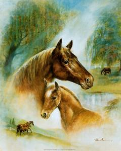 Brown Mare and Fowl by Ruane Manning