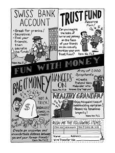 Fun With Money' Parody of Johnson-Smith gag catalogues, showing 'Swiss Ba?' - New Yorker Cartoon by Ruben Bolling