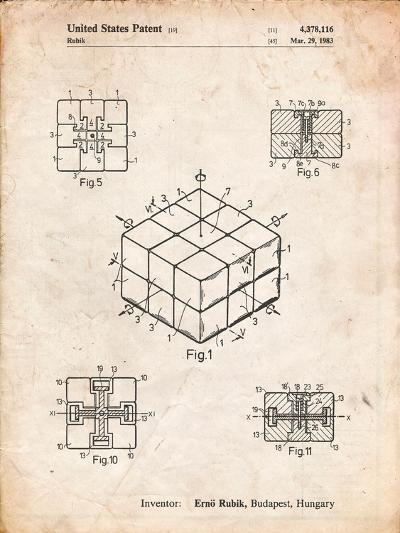 Rubik's Cube Patent-Cole Borders-Art Print