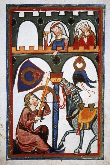 Rubin in a Castle Sending a Message to His Loved with a Crossbow. Codex Manesse (Ca.1300)--Giclee Print