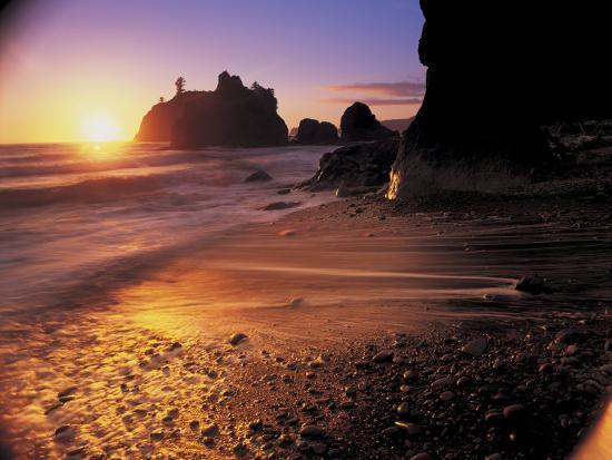 Ruby Beach at Sunset-Peter Adams-Photographic Print
