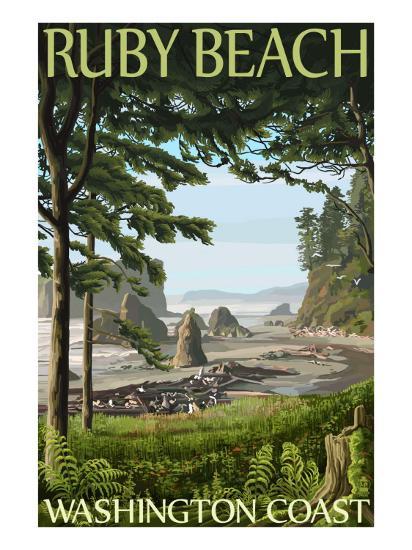 Ruby Beach, Washington Coast-Lantern Press-Art Print