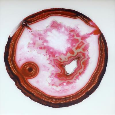 Ruby Geode with Silver Foil - Tempered Glass Wall Art