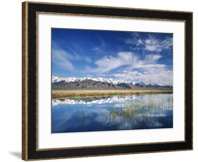 Ruby Mountains and Slough along Franklin Lake, UX Ranch, Great Basin, Nevada, USA-Scott T^ Smith-Framed Photographic Print