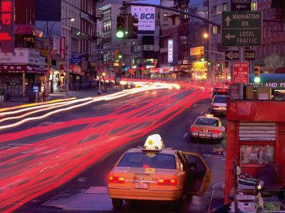 Canal Street with Cab, Chinatown, NYC